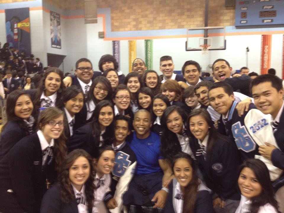Hanging out with some students at St. Genevieve High School in Los Angeles, CA