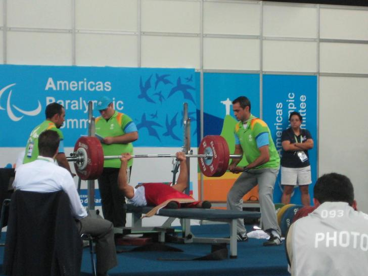 Lifting at the 2007 parapanamerican games in Rio De Janeiro Brazil